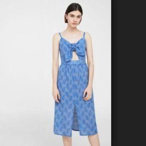 Mango Front Tie Blue Midi Dress Size L